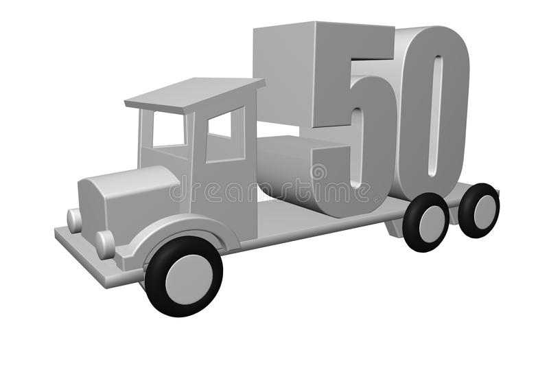 Fifty. The number fifty - 50 - on an old truck - 3d illustration royalty free illustration