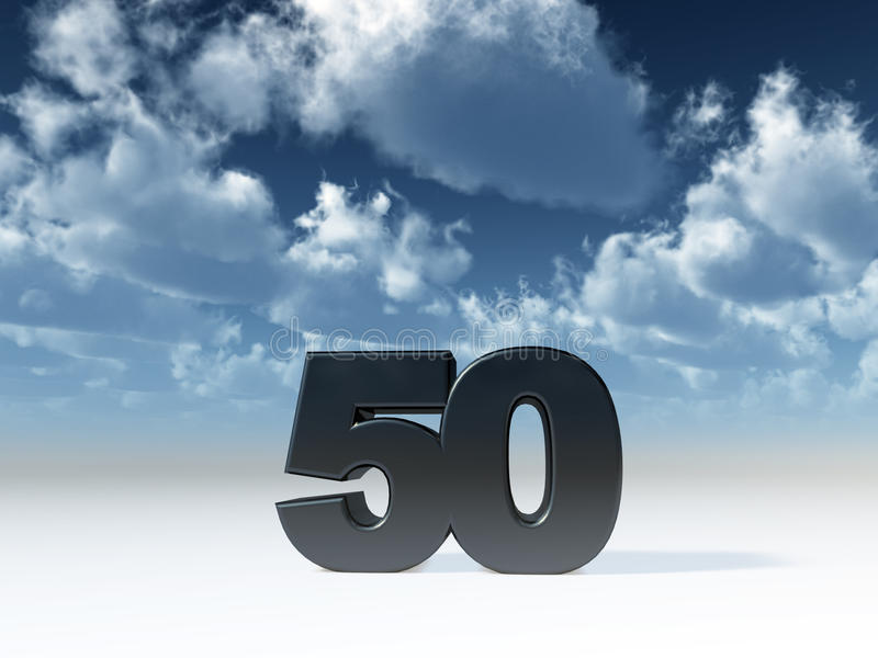 Fifty. The number fifty in front of blue sky - 3d illustration vector illustration