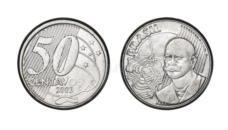 Fifty cents brazilian real coin, front and back faces stock photography