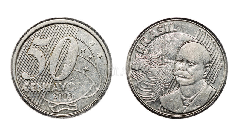 Fifty cents brazilian real coin front and back faces royalty free stock image