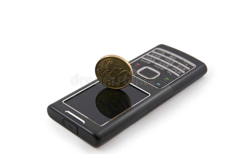 Fifty cents on phone. Fifty cents stand on cellphone royalty free stock image