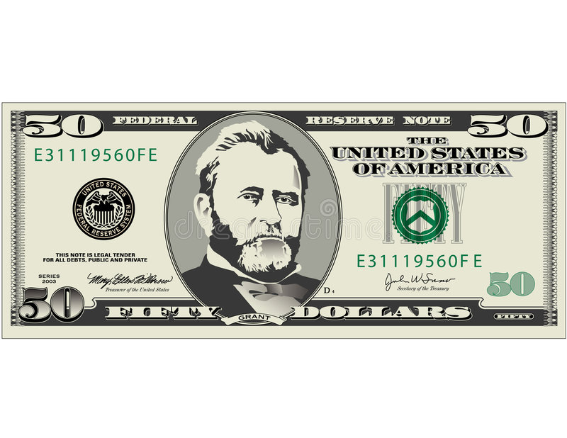Fifty dollar bill. Illustration of fifty dollar bill available in vector format also