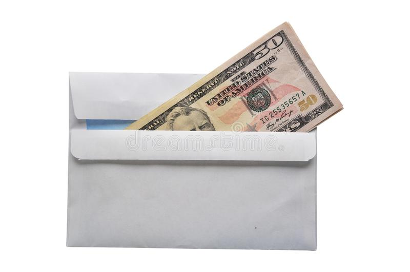 Fifty dollar bills in an envelope, bribe royalty free stock image