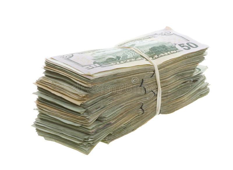 Fifty Dollar Bills Stacked And Banded Together Stock Photos
