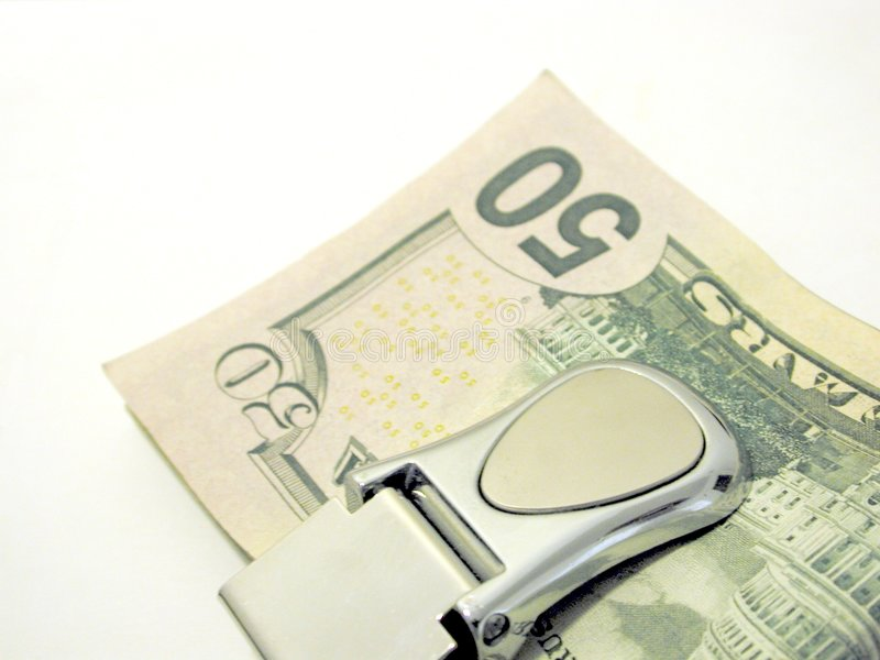 Fifty Dollar Money Clip stock photos