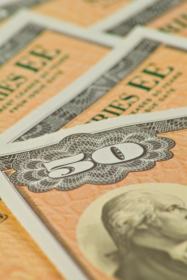 Fifty Dollar Savings Bonds stock photo
