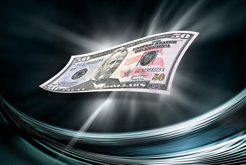 Fifty dollars banknote on abstract background. Fifty dollars banknote on abstract dark background royalty free illustration