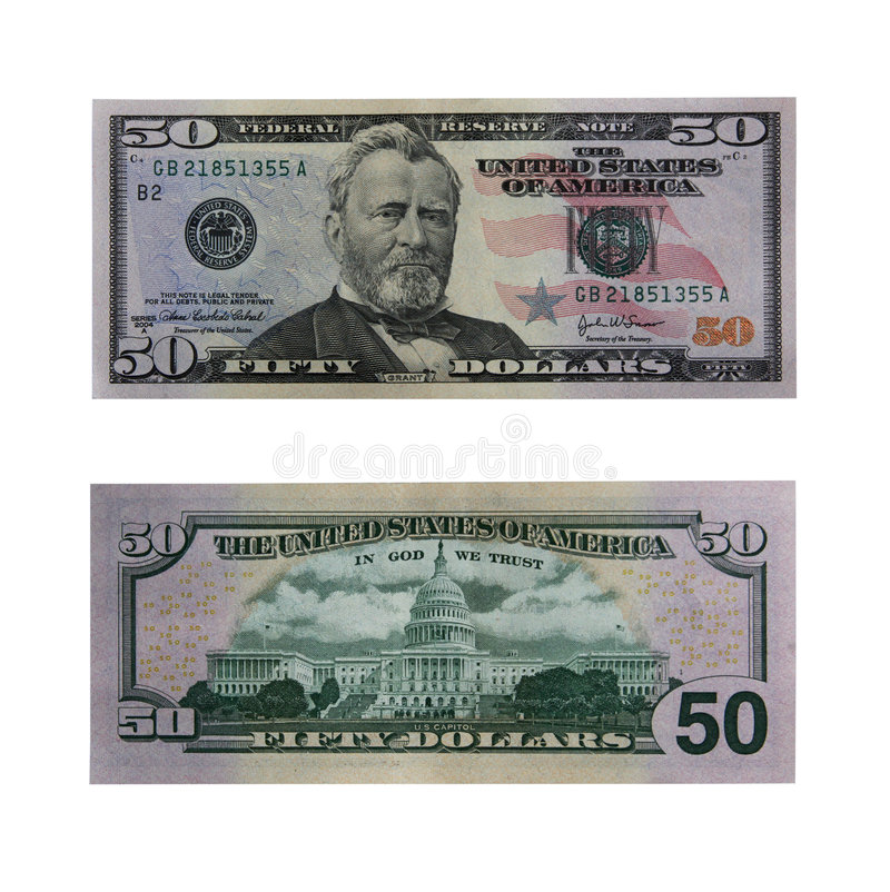 Fifty dollars bill with path. Both sides of the fifty dollar bill isolated on white with clipping path royalty free stock images
