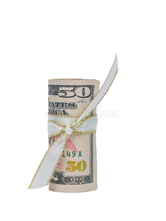 Download Fifty Dollars Cash Rolled With A Ribbon Stock Photo - Image: 8624662