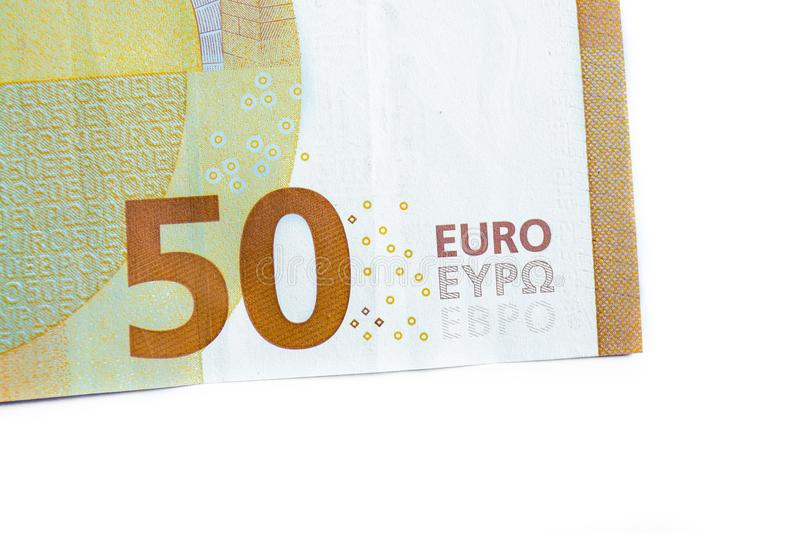 fifty euro banknote,Euro currency money isolated on white background. stock photo