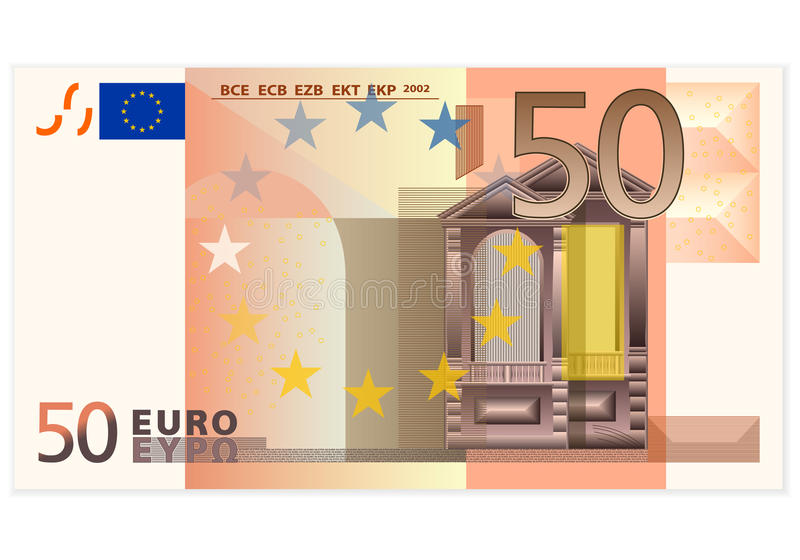 Fifty euro banknote. On a white background vector illustration