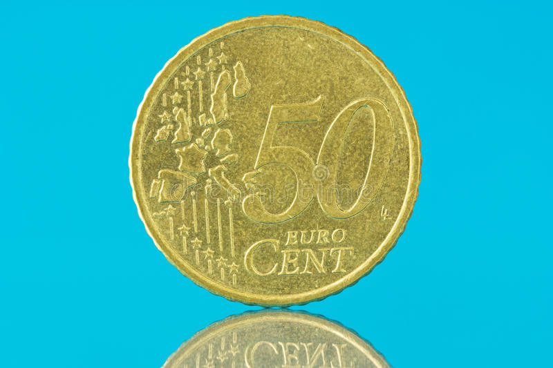 Download Fifty Euro Cent On Blue Background Stock Image - Image: 25087333