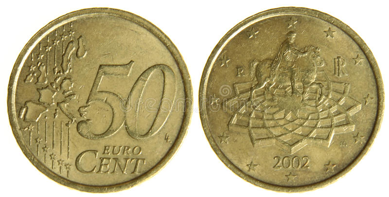 Fifty Euro Cents stock photography