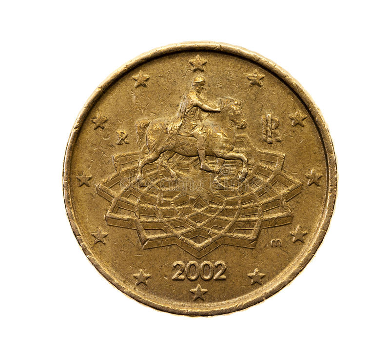 Fifty euro cents royalty free stock photo