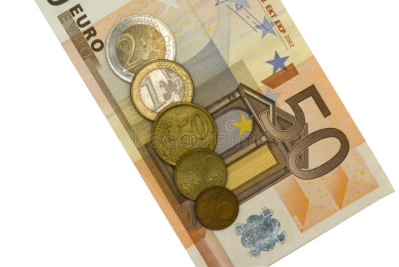 Fifty euro with coins stock images