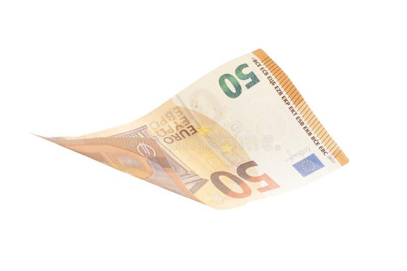 Fifty euro isolated on white background stock photo