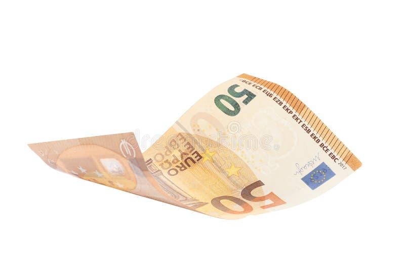Fifty euro isolated on white background royalty free stock photo