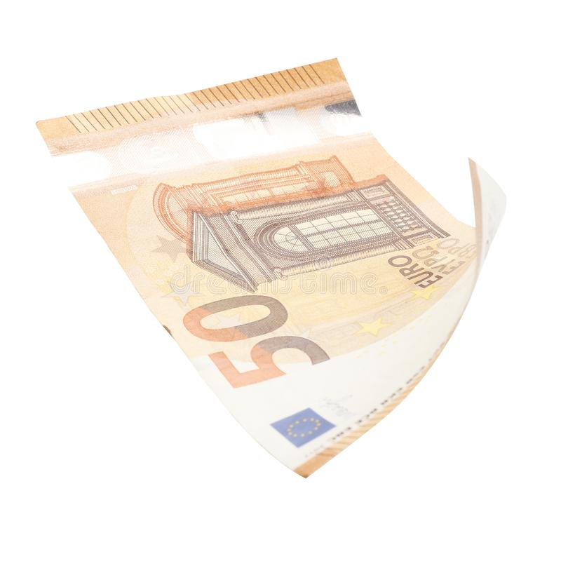 Fifty euro isolated on white background stock images