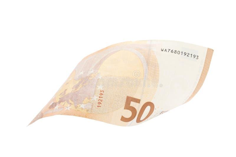 Fifty euro isolated on white background stock photos