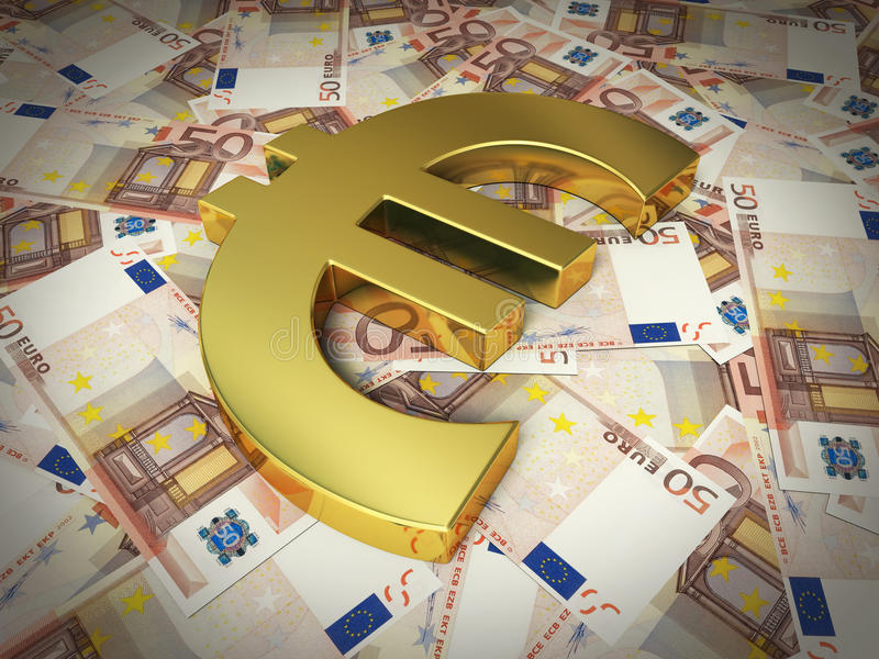 Fifty euro sign and banknotes royalty free stock photos