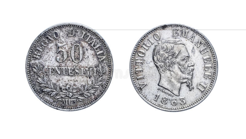 Fifty 50 Lire cents Silver Coin 1863 Vittorio Emanuele II, Kingdom of Italy royalty free stock images