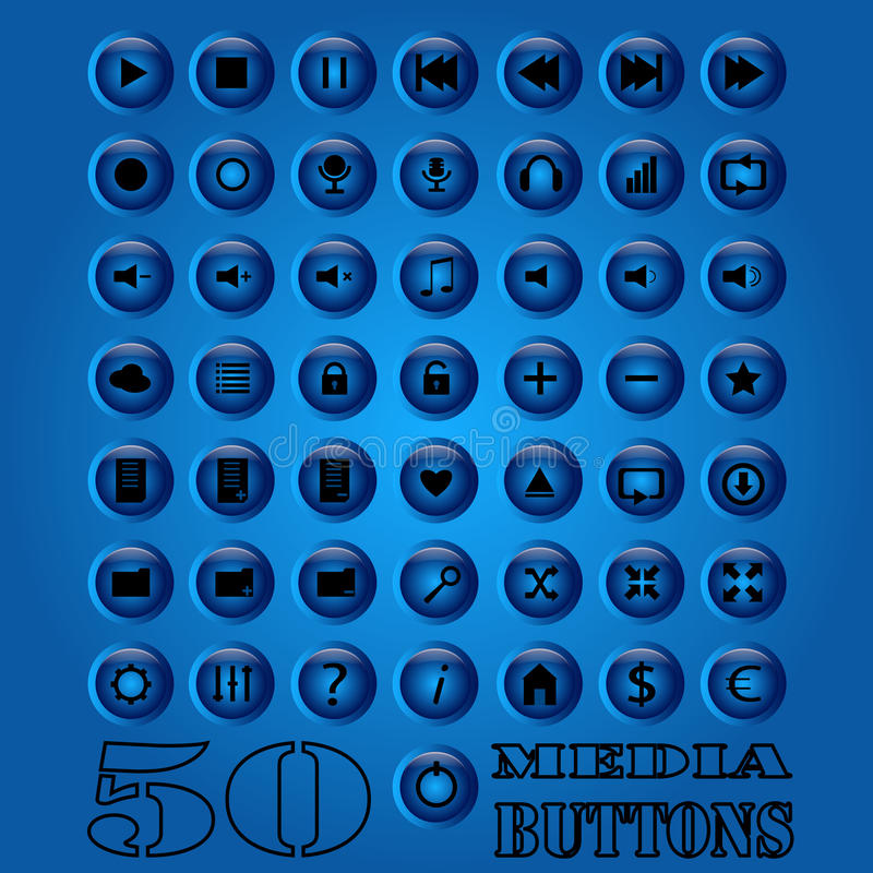 Fifty media Button set. Vector eps 10. stock photo