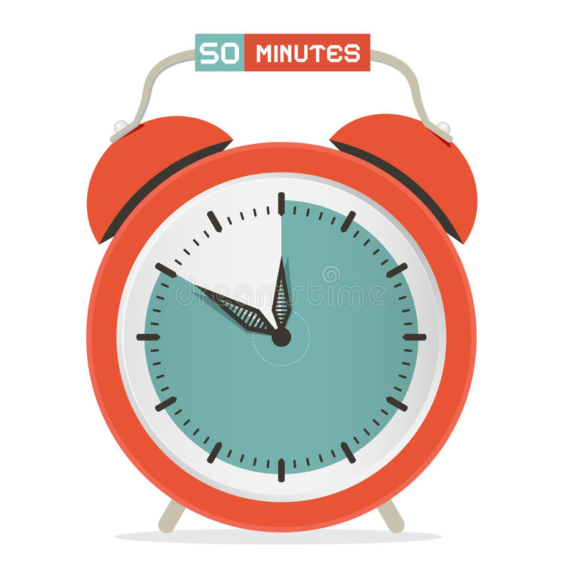Fifty Minutes Stop Watch - Alarm Clock. Vector Illustration royalty free illustration