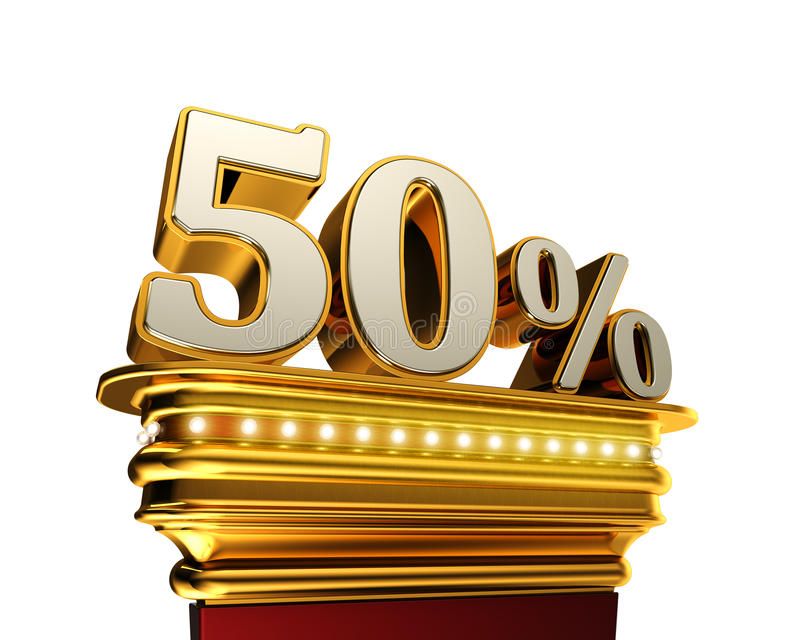 Fifty percent figure over white background stock illustration