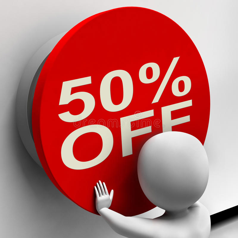 Fifty Percent Off Button Shows Half Price Or 50. Fifty Percent Off Button Showing Half Price Or 50 royalty free illustration