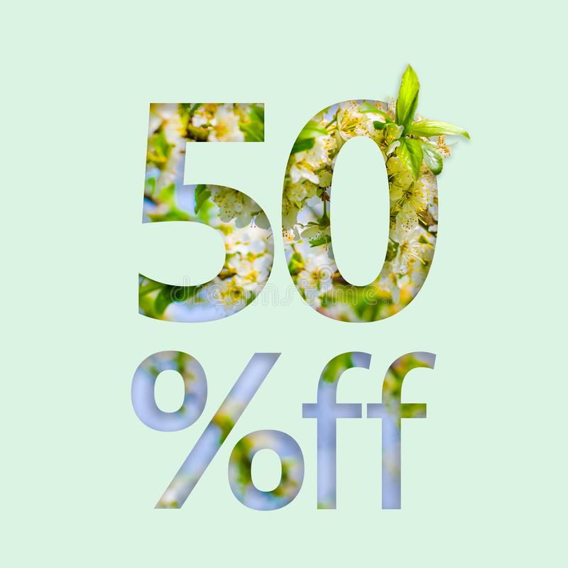 50% fifty percent off discount. The creative concept of spring sale, stylish poster, banner, promotion, ads. royalty free stock image