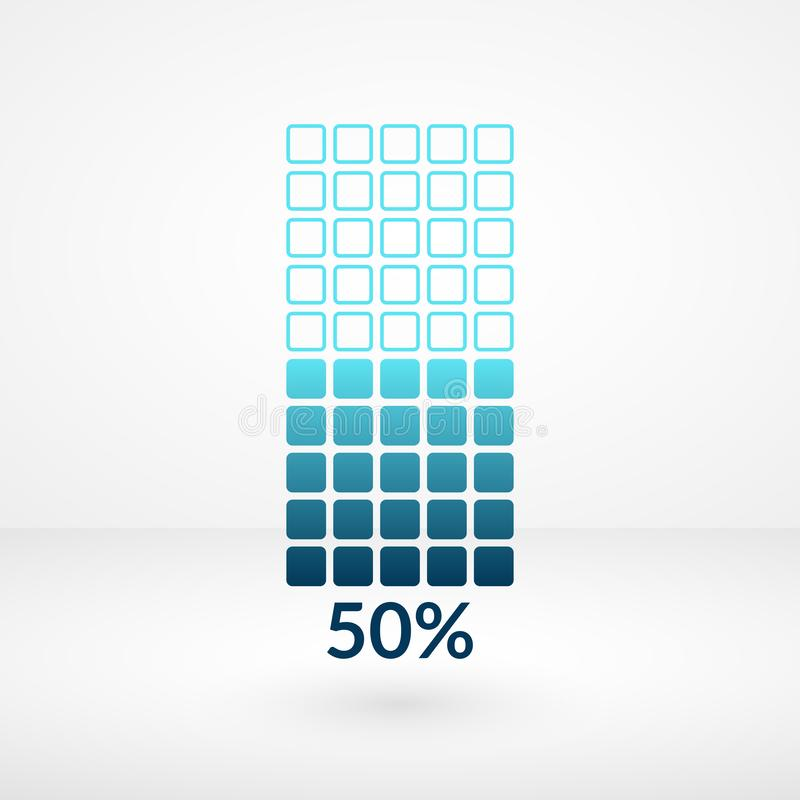 Fifty percent square chart isolated symbol. Percentage vector 50% icon for business, web, design royalty free illustration
