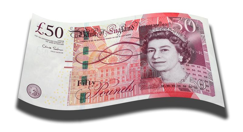 Fifty Pound Note. Bank of England fifty pound note above a white background with drop shadow royalty free illustration