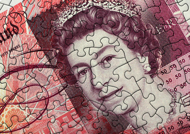 Fifty Pound Note Jigsaw stock photography