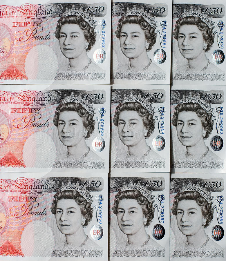 Fifty Pound Notes - Great Britain Editorial Stock Photo