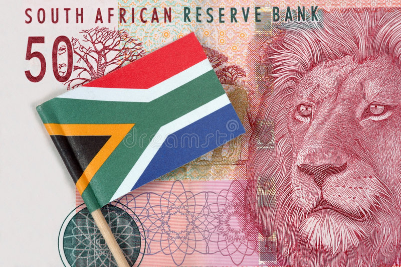Fifty Rand. A South African fifty rand note with a South African flag on it. Photographed in a studio stock images