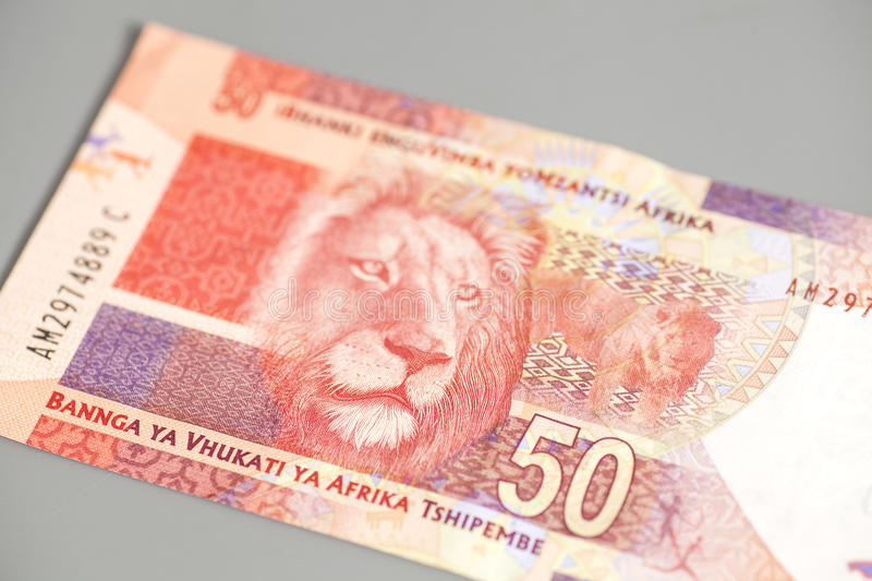 Fifty South African Rand. On gray background stock images