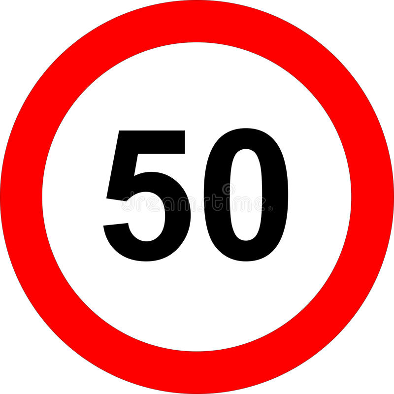 Fifty speed limit sign. Illustration of fifty kilometers or miles per hour road sign in red circle, isolated on white background vector illustration