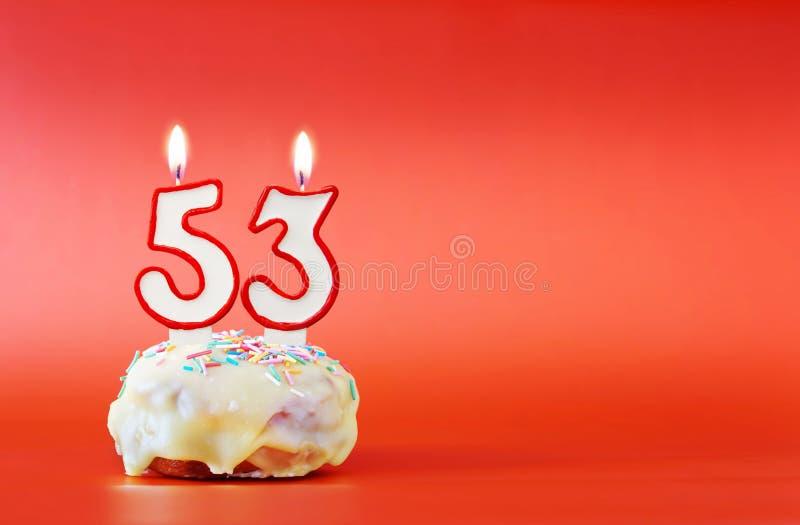Fifty Three Years Birthday  Cupcake With White Burning