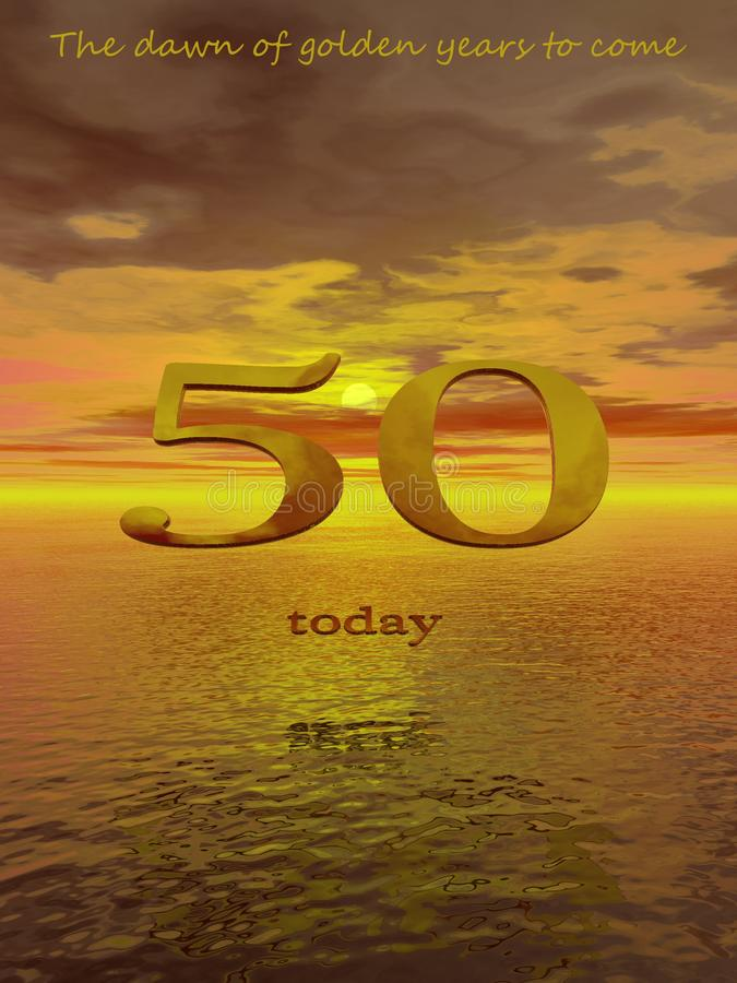 Fifty today. Life nowadays begins at fifty not the traditional saying of forty - that`s what many people think anyway vector illustration