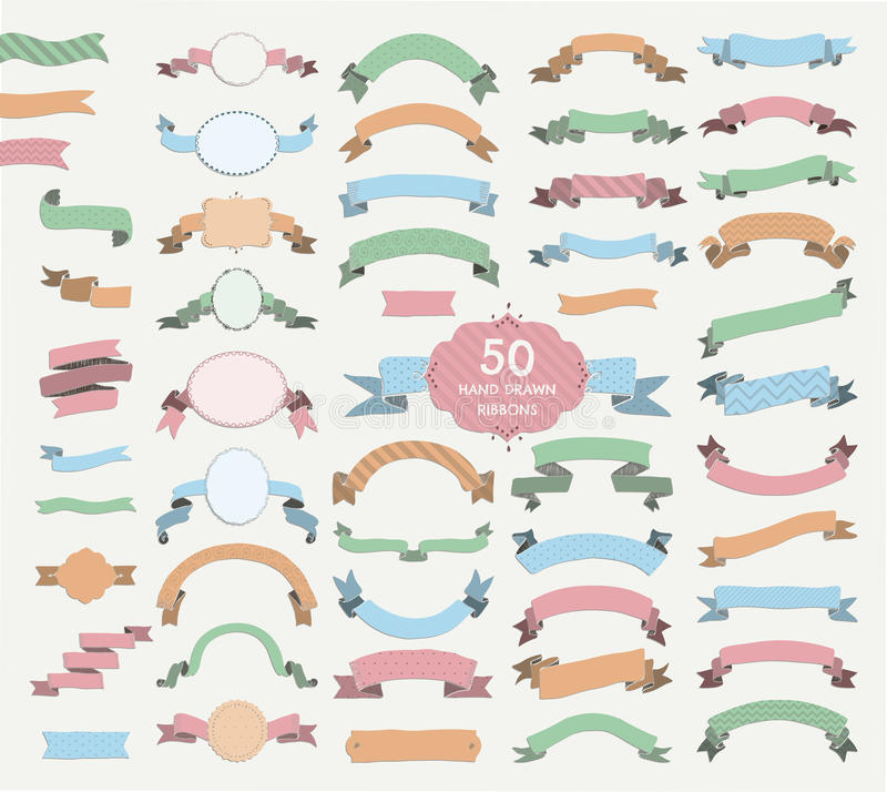 Fifty Vector Colorful Hand Drawn Ribbons, Banners, Frames vector illustration