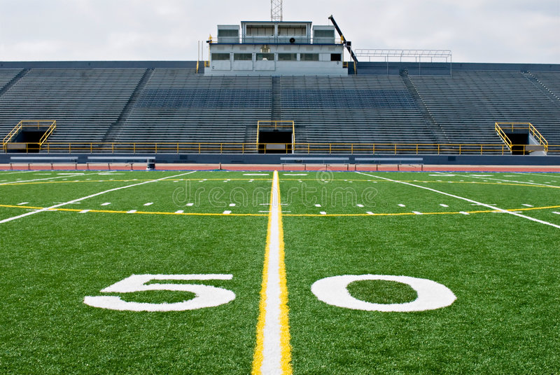 Download Fifty Yard Line With Bleachers Stock Image - Image: 8410235