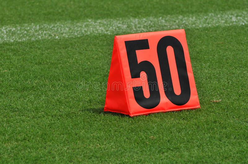 Fifty Yard Line Marker royalty free stock photography