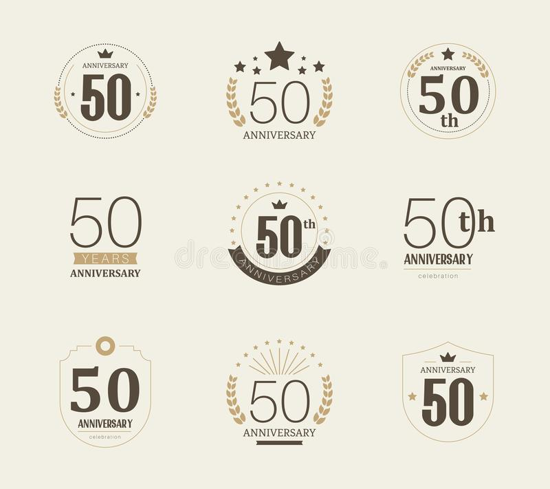 Fifty years anniversary celebration logotype. 50th anniversary logo set. Vector stock illustration