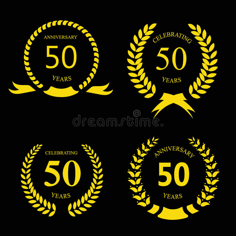 Fifty years anniversary signs laurel gold. Wreath set vector illustration