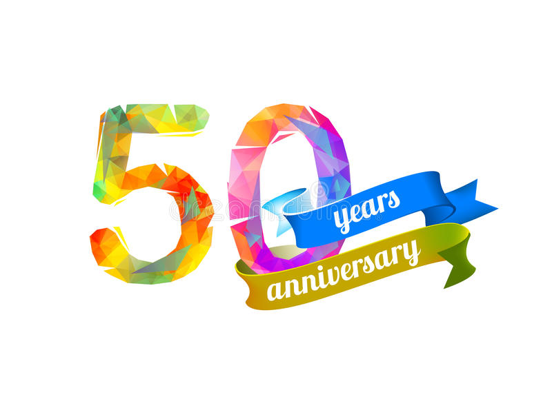 50 fifty years anniversary. Vector triangular digits stock illustration