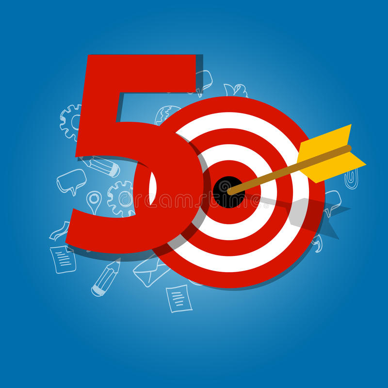 Fifty years target in business calendar list of achievement. Vector royalty free illustration