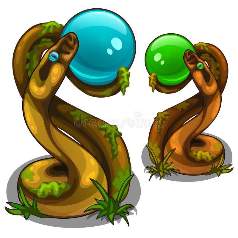 Figürchen von den Schlangen, die Bälle, Blau und Grün halten stock abbildung