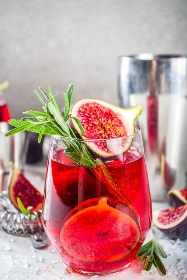 Fig autumn alcohol cocktail. With cognac or liquor, rosemary, figs and honey, white marble table, with bar tools, copy space royalty free stock photo