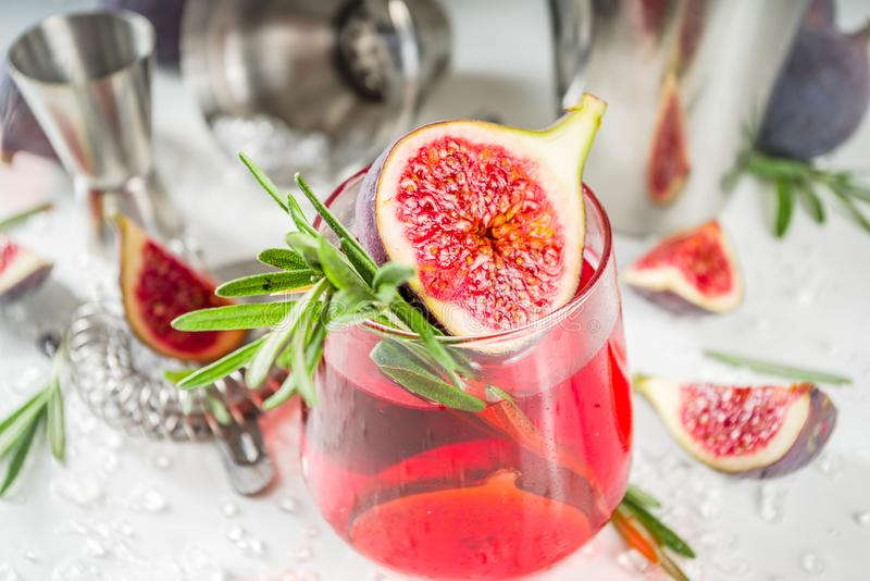 Fig autumn alcohol cocktail. With cognac or liquor, rosemary, figs and honey, white marble table, with bar tools, copy space royalty free stock image