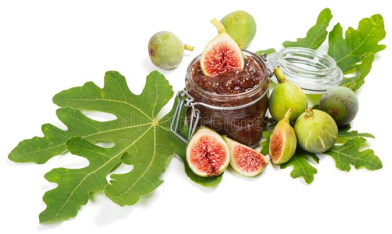Fig. bij vijgeblad en de jam royalty-vrije stock foto's